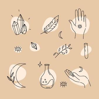 Elementos mágicos desenhados à mão no estilo linear para magia e astrologia