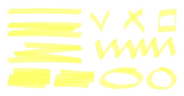 Elementos marcadores de texto com listras amarelas.
