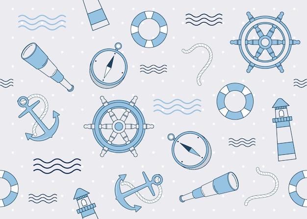 Elementos marinhos e decoração de fundo sem emenda