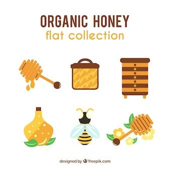 Elementos mel orgânico em design plano
