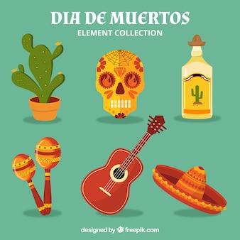 Elementos mexicanos com estilo colorido