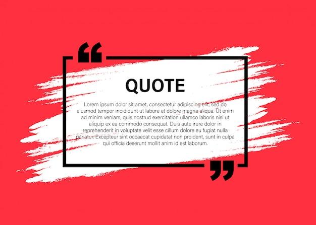 Elementos modernos de citação de bloco na moda modelo de quadro de texto de citação e comentário criativo