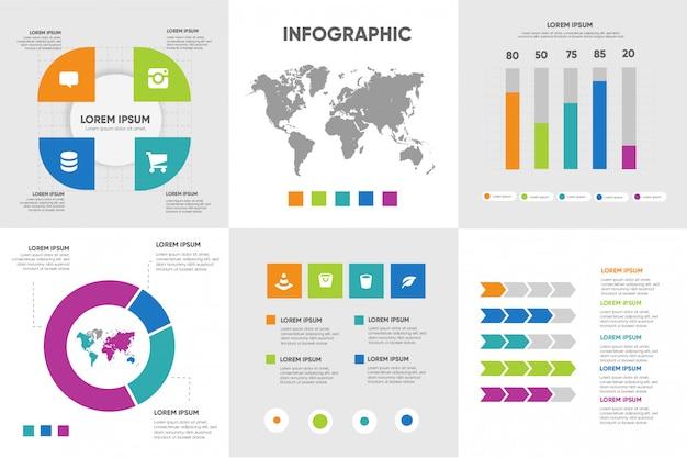Elementos modernos infográfico cor cheia