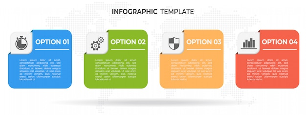 Elementos modernos timeline infográfico 4 opções.
