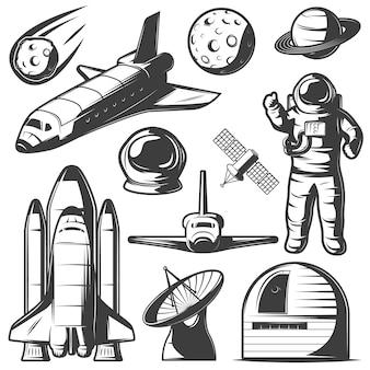 Elementos monocromáticos de espaço definido com ônibus espacial astronauta e foguetes observatório de objetos cósmicos e radar isolado