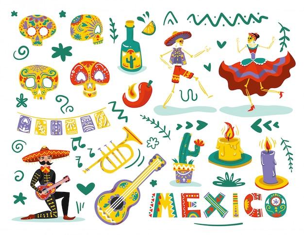 Elementos mortos do dia mexicano atribuem conjunto colorido com dança esqueletos máscaras de caveiras de açúcar