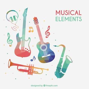 Elementos musicais coloridos