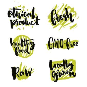 Elementos naturais para alimentos orgânicos sinais produzidos localmente sem ogm produto bruto e ético
