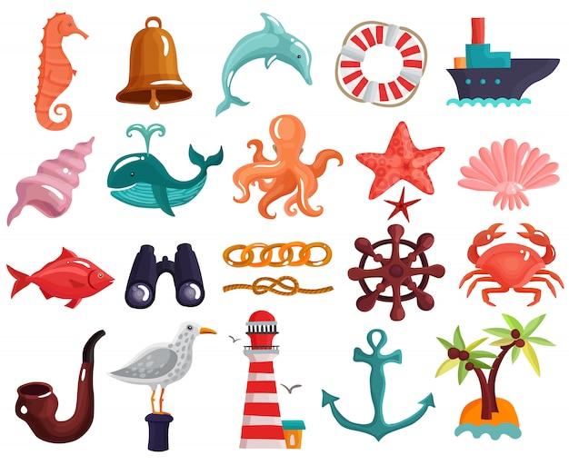 Elementos náuticos e coleção de vida marinha