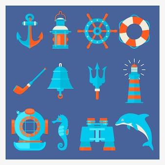 Elementos náuticos em estilo de desenho animado