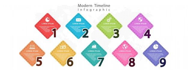 Elementos números infográfico 9 opções