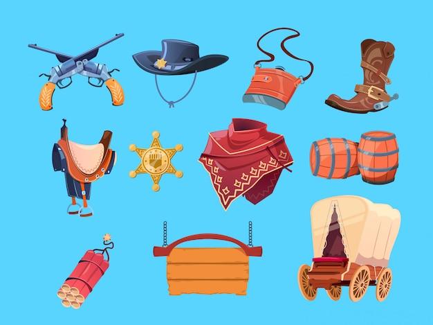 Elementos ocidentais dos desenhos animados. botas de cowboy do oeste selvagem, chapéu e arma. distintivo, dinamite e vagão do xerife