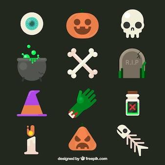 Elementos originais de halloween com design plano