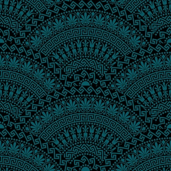 Elementos ornamentados em forma de leque escuro vintage sem costura tradicional com padrões gregos, meandro