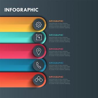 Elementos para a barra colorida com infográfico ícone. modelo de diagrama, gráfico, conceito de negócios com 5 opções, partes, etapas ou processos.
