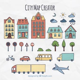Elementos para a criação de uma cidade, desenhado à mão