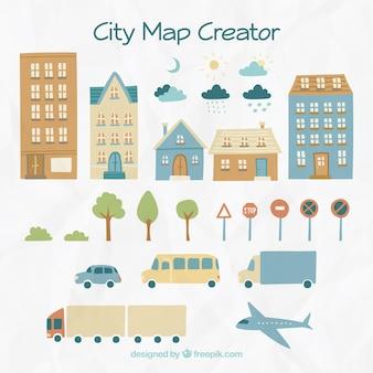 Elementos para criar uma cidade, desenhado à mão
