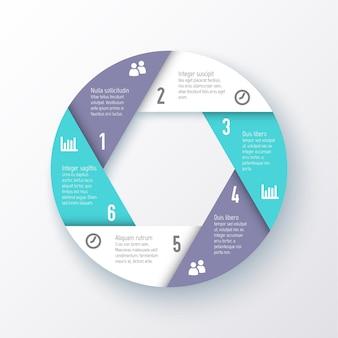 Elementos para infográficos. modelo para um gráfico de pizza das seis partes.