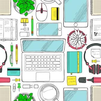 Elementos perfeitos da vista superior do trabalho