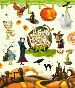 Elementos, personagens, abóboras e monstros do vetor 3d de halloween