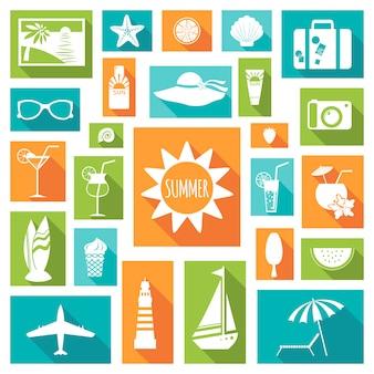 Elementos planos de férias de verão