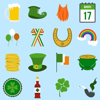 Elementos planos de st patrick day definido para web e dispositivos móveis