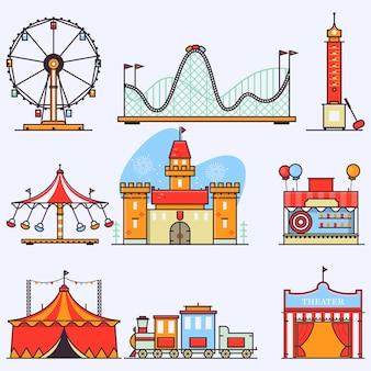 Elementos planos do parque de diversões