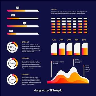 Elementos planos infográfico com coleção de estatísticas