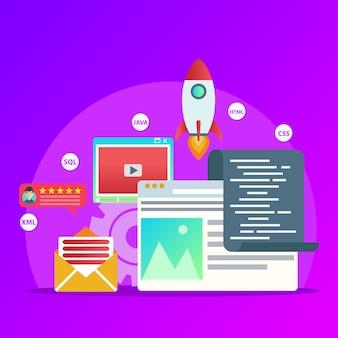 Elementos planos projetados, foguete, navegador da web, envelope, para design gráfico