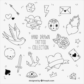 Elementos pretos e brancos para tatuagens do vintage