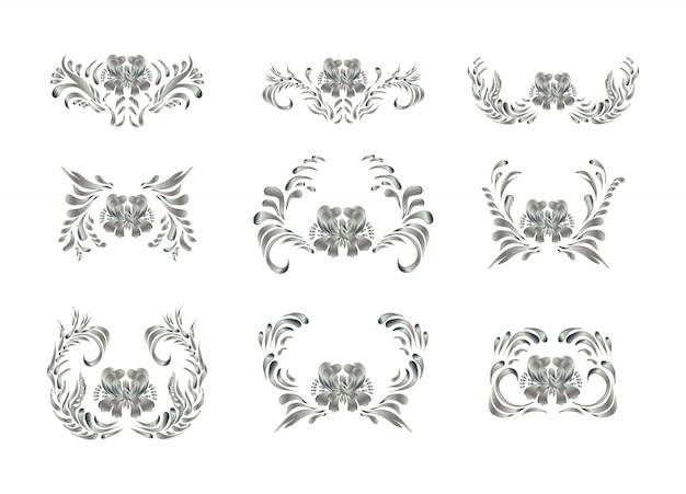 Elementos reais com flores de prata