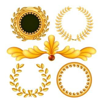 Elementos reais de ouro vintage