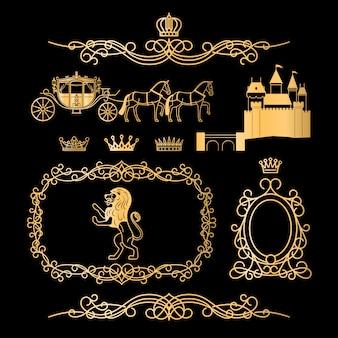 Elementos reais vintage dourados