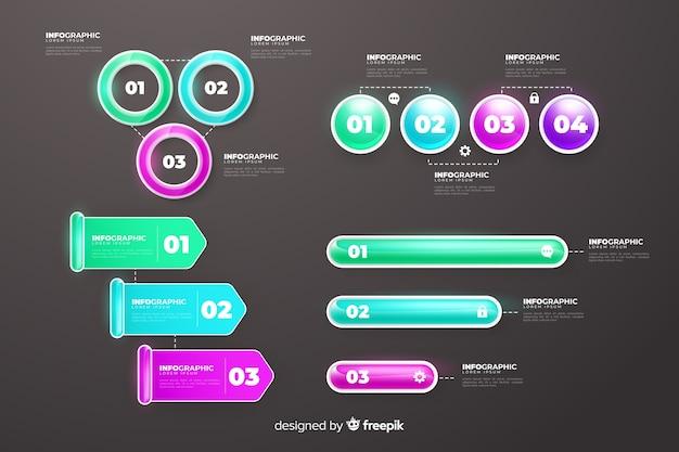 Elementos realistas de infográfico de plástico brilhante