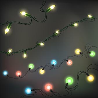 Elementos realistas de luzes de natal