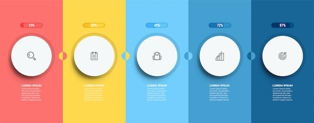 Elementos retangulares para etapas do processo de negócios. linha do tempo com 5 opções, circule.