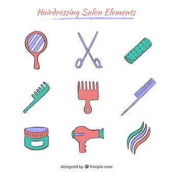 Elementos salões de cabeleireiro esboçado