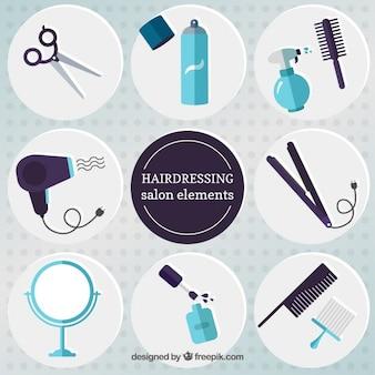 Elementos salões de cabeleireiro planas