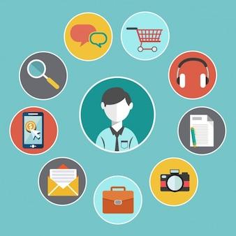 Elementos sobre comércio electrónico Vetor grátis