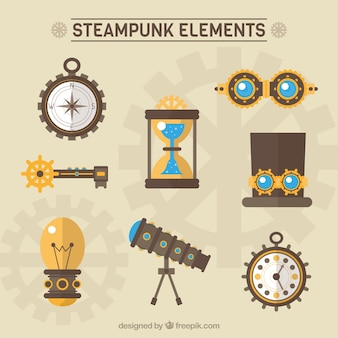 Elementos steampunk embalar em design plano