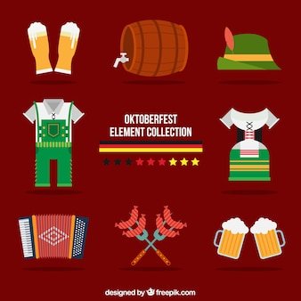 Elementos tradicionais conjunto de oktoberfest