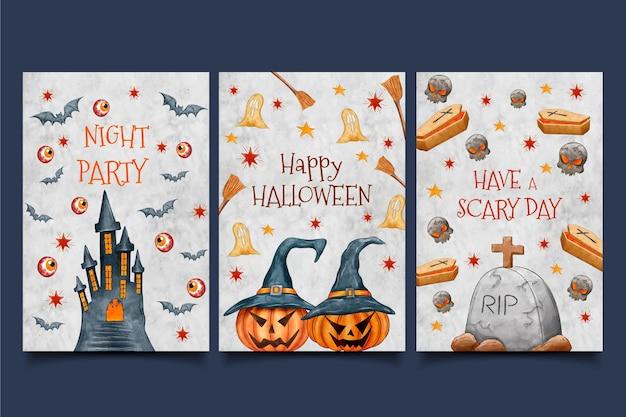 Elementos tradicionais de cartões de dia das bruxas em aquarela