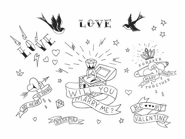 Elementos tradicionais de tatuagem de amor