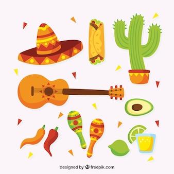 Elementos tradicionais mexicanos engraçados
