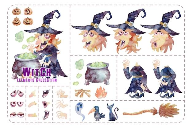 Elementos, vestidos e expressão de bruxa fofa, pintura em aquarela de coleção isolada de halloween.