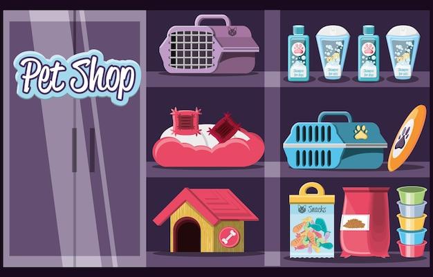 Elementos veterinários de pet shop