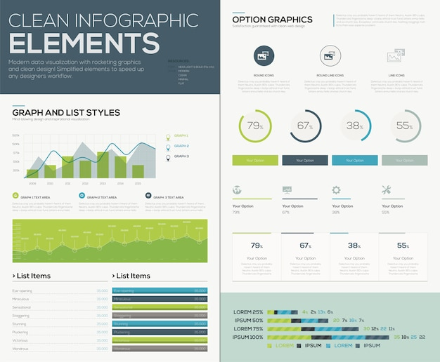 Elementos vetoriais integrados do usuário para infografia e visualizar dados