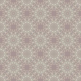 Elementos vintage de padrão de mandala desenhada à mão sem emenda na oriente