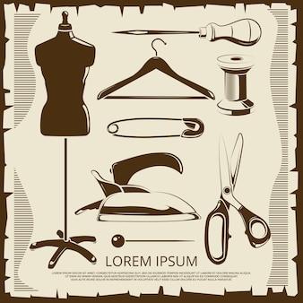 Elementos vintage para rótulos de alfaiate