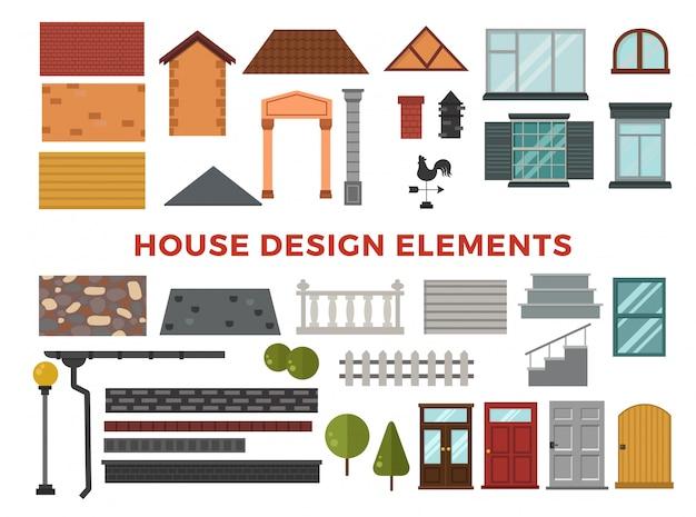 Elemets de desenho vetorial de casa de família